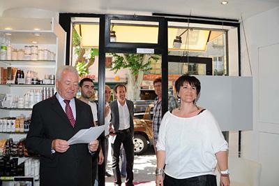 Visite commerce M. Spagnou et le comité de pilotage FISAC